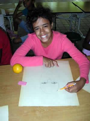 Kala drawing a realistic self-portrait