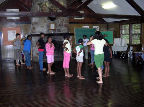 Sita, our dance instructor, preparing dance students for the talent show